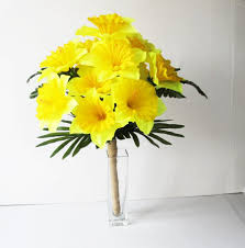 Yellow Silk Daffodils Flowers Bouquet Narcissus Green Bouquets Wedding Artificial Country Rustic Spring Jute