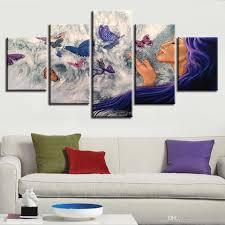 großhandel modulare bilder leinwand kunst 5 stück frau und schmetterling hd drucke poster dekor modernes wohnzimmer wand abstrakte gemälde