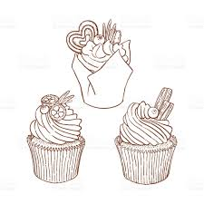 Hand drawn vector brown and white outline cupcakes good for coloring royalty free stock