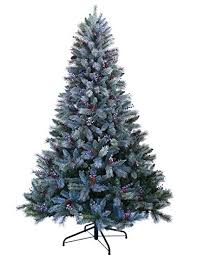 ABUSA Christmas Trees 9 Ft Prelit Snowy Everest Needles Pine Cones And Berries Faux Xmas Tree