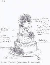 Ana s custom designed sketch for Sarah s wedding cake