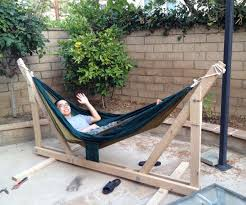 DIY Wooden Hammock Stand: 6 Steps (with Pictures) Fniture Indoor Hammock Chair Stand Wooden Diy Tripod Hammocks 40 That You Can Make This Weekend 20 Hangout Ideas For Your Backyard Garden Lovers Club I Dont Have Trees A Hammock And Didnt Want Metal Frame So How To Build Pergola In Under 200 A Durable From Posts 25 Unique Stand Ideas On Pinterest Diy Patio Admirable Homemade To At Relax Your Yard Even Without With Zig Zag Reviews Home Outdoor Decoration