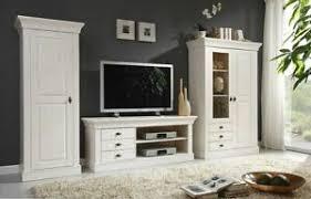 massivholz wohnwand weiß kiefer massiv anbauwand wohnzimmer
