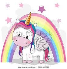 Cute Cartoon Unicorn Rainbow On Stars Stock Vector Royalty Free 1028962627