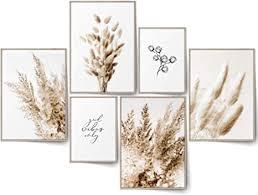 blckart infinity beige bilder set stilvolle beidseitige pasgras poster natur gräser wohnzimmer deko boho l 4x a3 2x a4 ohne rahmen