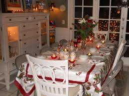 Captivating Holiday Dining Room Decoration Using Rectangular Red And White Table Cloth Cheap Setting Wood Chairs