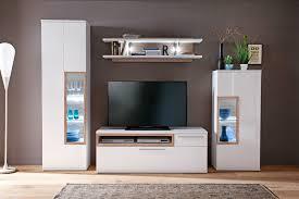 wohnwand parla 20 weiß hochglanz 4 teilig medienwand tv wand mit led expendio