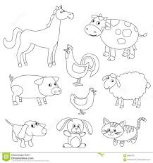 Cute Cartoon Farm Animals And Birds For Coloring Book Stock Vector Royalty Animal Pdf Medium Size