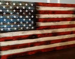 Scorched2 High Gloss Wooden Rustic American Flag Distressed Pallet Antique Wall Art