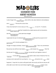 Halloween Mad Libs For 5th Graders by I Made A Harvey Weinstein Mad Lib Have Fun Film Kids Album On