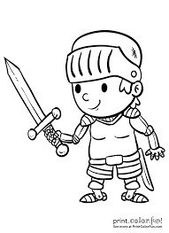 Cartoon Boy Knight With A Sword Coloring Page