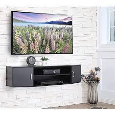 fitueyes hängender tv schrank für tvs holz tv board hängend mit türen und offene fächer schwarz matt ds311001wb