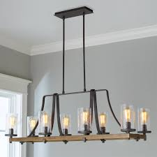 Industrial Farmhouse Wavy Glass Island Chandelier 8 Light