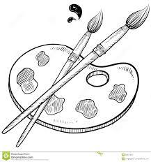 Artist Brush And Palette Sketch Stock Vector