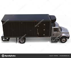 Silver Refrigerator Truck Black Trailer Unit Top Side View — Stock ...