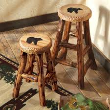 Stools Log Bar Stool Rustic For Sale Cabin Chairs Leather Licious Chunky Pine