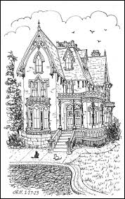 Big Victorian House Hard Adult Coloring Pages