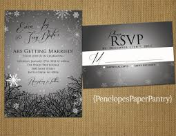 Snowflakes Tree Branches Winter Wedding Invitation