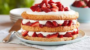 Strawberry shortcake piled with strawberries