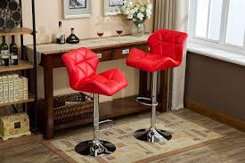 Roundhill Furniture PC190RD Glasgow Contemporary Tufted Adjustable Height  Hydraulic Red Bar Stools, Set Of 2
