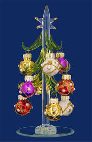 Glass Mini Christmas Tree With 9 Multi Color Ornaments 6 LSArts