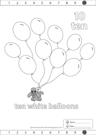 Coloring Balloons Pages 10 White
