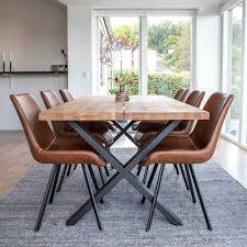 esszimmer sitzgruppe aus eiche massivholz braun kunstleder 7 teilig