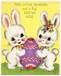 Free Vintage Image Bunnies Easter Card