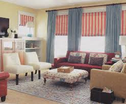 Amazing French Country Living Room Furniture Collection Blue Fabric Vertical Curtain Red Striped Windows Blind