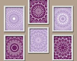 Framed Hanging Purple Wall Art For Bedroom Medallion Printable Abstract Interior Decorating Ideas Sensational