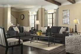 Grey Living Room With Brown Furniture Baluster Wooden Ceiling Design Wood Exposed Panels Round Table