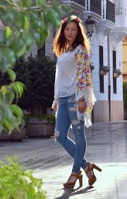 Girl As A Modern Hippie In Bohemian Outfit Wearing Boyfriend Jeans Sandals And Zara