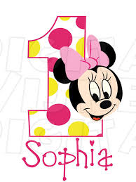 Baby Minnie Mouse face pink and yellow First Birthday Image