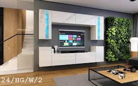 möbel für wohnzimmer weiß hochglanz future 24
