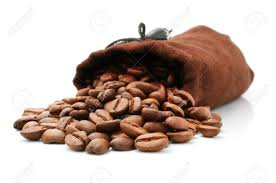 Coffee Bean In Sack Isolated On White Background Stock Photo