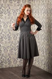 Miss Candyfloss 50s Grey Vedette Pinstripes Swing Dress 102 20 16300 20151016 227W