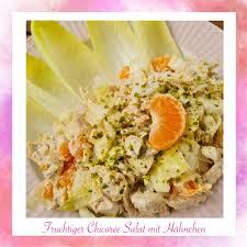 fruchtiger chicorée hähnchensalat zuckerfrei low carb