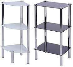 druline badregal glas eckregal standregal 3 glas ablagen glasregal badezimmer regal glasböden schwarz weiß rechteckiges regal weiß