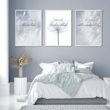 islamischen insha allah blooming floral löwenzahn blau poster leinwand malerei wand kunstdruck bilder schlafzimmer innen wohnkultur