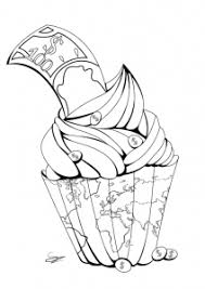 Coloring page adult cupcake by Juline