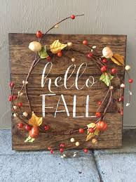 Rustic Fall Wood Pallet Sign W Berry Pumpkin Garland Decor Home Decoration Hello