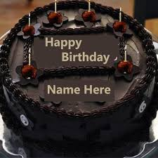 write name on chocolate happy birthday cake with candlerthday cakes with name write
