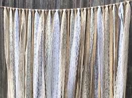 Rustic Country Charm Barn Wedding Burlap Lace Hanging Garland Swag Rag Tie Backdrop Decor Photo Prop Size 6 Ft X