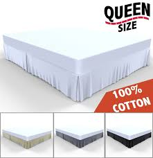 Box Pleat Bed Skirt by Bed Skirt By Royal 100 Natural Cotton Luxurious 4 Side