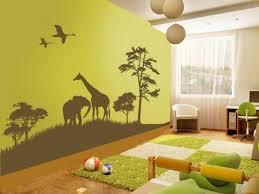 A Kids Jungle Wall Same Page Grass Rug Cut As Path Through Room