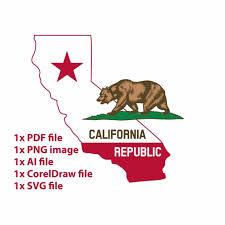 California State Map With Flag PNG Clipart Of