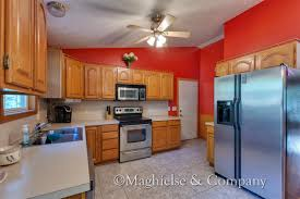 Contemporary Red Themed Kitchen Design With Cabinet