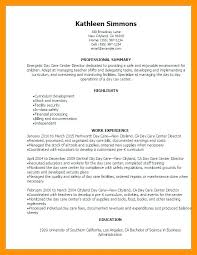 Resume For Childcare Sample