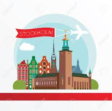 Stockholm Sweden City Skyline Silhouette Vector Illustration Icon For Travel Agency Stock