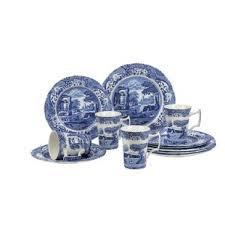 Blue Italian 12 Piece Dinnerware Set Service For 4